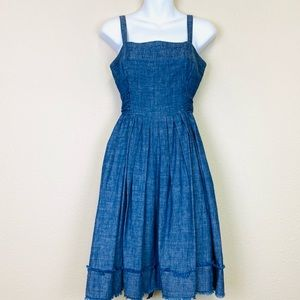 TALBOTS Chambray Summer Dress with Tiered Raw Hem